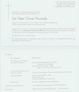 rouwbericht Omer Pauwels