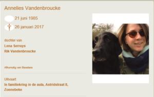 rouwbericht Annelies Vandenbroucke